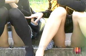 【 盗撮動画 】公園で無防備に座るミニスカギャルの食い込みパンチラ盗撮したったwwwww
