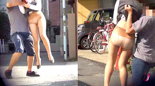 【盗撮動画】お昼休みOLお姉さんを狙い突撃スカートめくり悪戯したハプニング盗撮映像wwwww