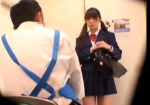 【 盗撮動画 】万引きしたツインテールの可愛いJKが鬼畜店長に中出し制裁を受けてる様子を隠し撮り!