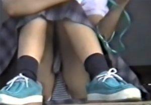 【パンチラ盗撮動画】制服姿の幼すぎるJC少女たちが地べたに三角座りでスカート内の下着がモロ見えwww