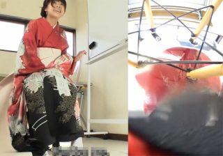 【素人盗撮動画】成人式の記念写真を撮る時にスタジオで着物姿の一般人がお漏らしハプニングwww