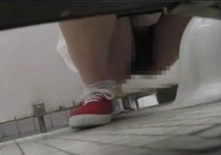 【トイレ盗撮動画】公衆便所に潜伏して女性を待つ…オシッコしてる様子を神アングルで記録するwww